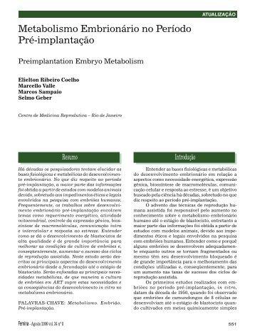 Metabolismo Embrionário no Período Pré-implantação - Febrasgo