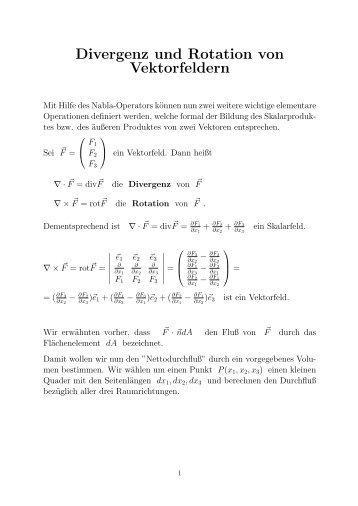 Divergenz und Rotation von Vektorfeldern