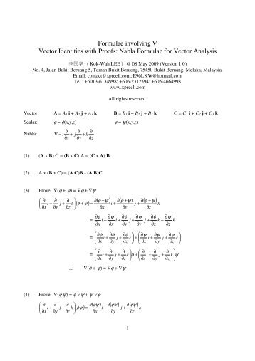 Formulae involving ∇ Vector Identities with Proofs: Nabla Formulae ...