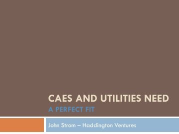 CAES and Utilities Need, by John Strom, Haddington - CAREBS