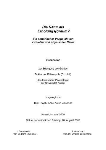 Die Natur als Erholungs(t)raum - KOBRA - Universität Kassel