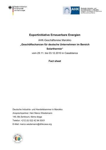 AHK EE Factsheet Marokko - Exportinitiative Erneuerbare Energien