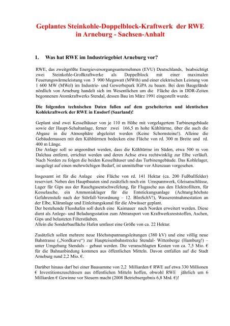 Geplantes Steinkohle-Doppelblock-Kraftwerk der RWE in Arneburg