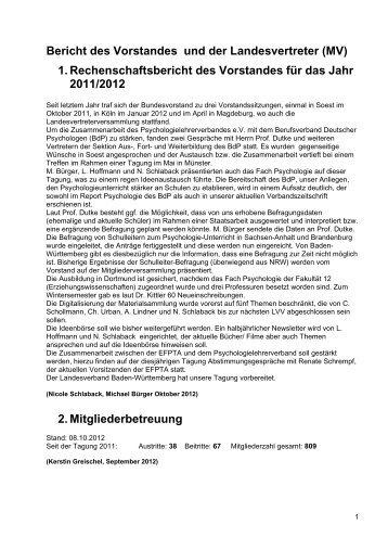 1. Rechenschaftsbericht des Vorstandes für das Jahr 2011/2012 2 ...