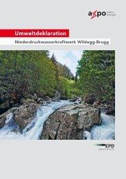 Umweltdeklaration EPD Laufwasserkraftwerk Wildegg-Brugg - Axpo