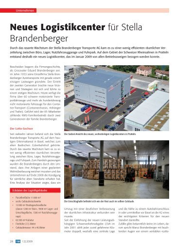 Neues Logistikcenter - Stella Brandenberger Transporte AG
