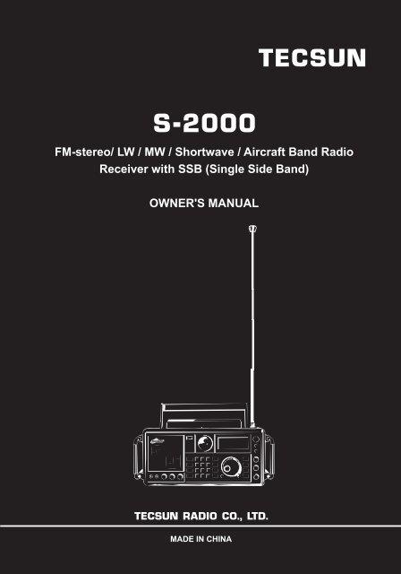 S-2000 TECSUN FM-stereo/ LW / MW / Shortwave / Aircraft Band