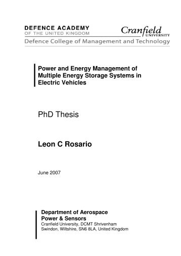 CRANFIELD UNIVERSITY SCHOOL OF ENGINEERING PhD