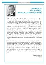 Grußbotschaft an den Verband Reisender Kaufleute Österreichs