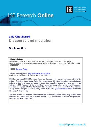 Discourse and mediation Book section - LSE Research Online