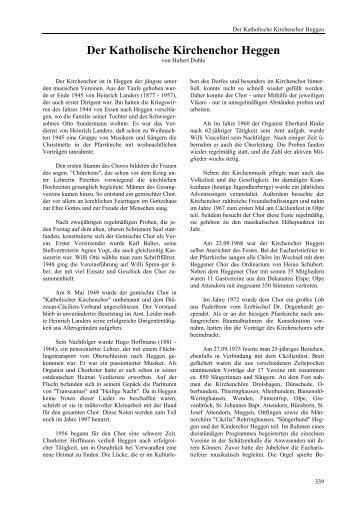 Der Katholische Kirchenchor Heggen - Heimatbund Finnentrop