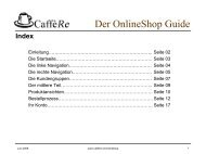 Der OnlineShop Guide - CaffèRe - Lavazza Espresso Point-Vertretung