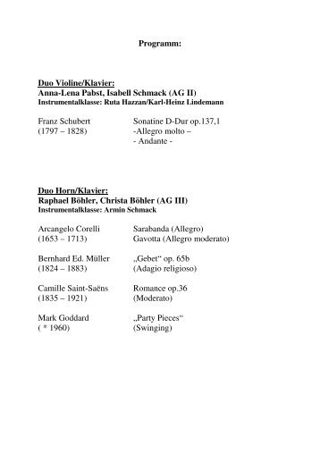 Programm: Duo Violine/Klavier: Anna-Lena Pabst, Isabell Schmack ...