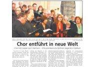 Chor entführt in neue Welt (u. a. Berichte)