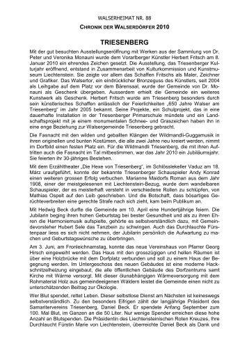 Chronik der Gemeinde Triesenberg für das Jahr 2010 - Vorarlberger ...