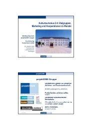 Kulturtourismus 2.0: Zielgruppen, Marketing und Kooperationen im ...
