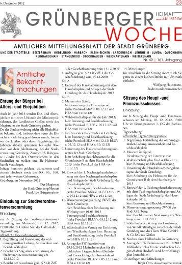 Grünberger Woche vom 06. Dezember 2012 - der Stadt Grünberg