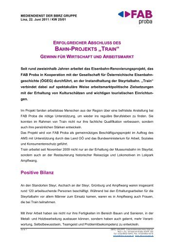 Presseaussendung: Erfolgreicher Abschluss des Bahn ... - FAB