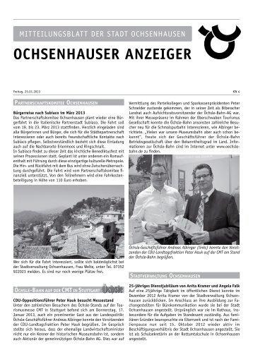Nachrichten aus dem Rathaus - Stadt Ochsenhausen