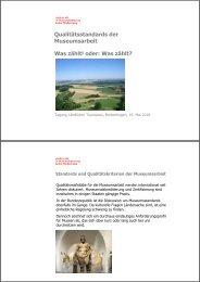 Qualitätsstandards der Museumsarbeit - Baden-Württemberg