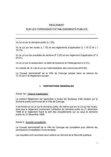 REGLEMENT SUR LES TERRASSES D ... - Carouge