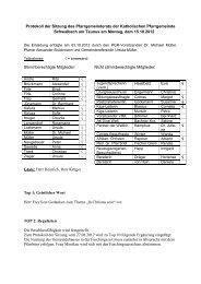 Protokoll der Sitzung des Pfarrgemeinderats der Katholischen ...