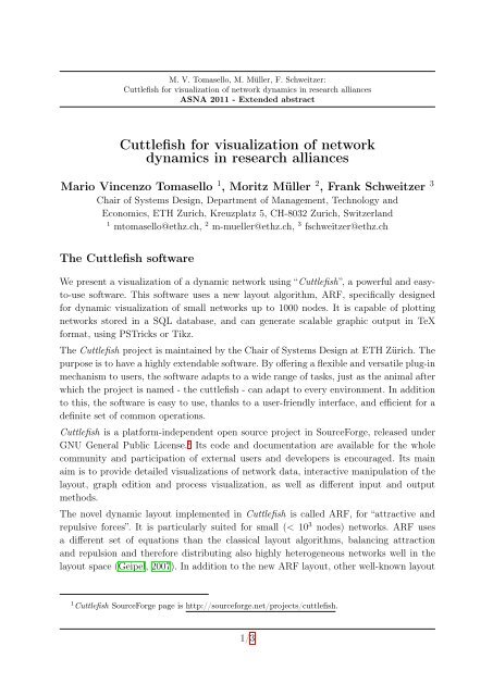 Cuttlefish for visualization of network dynamics in research
