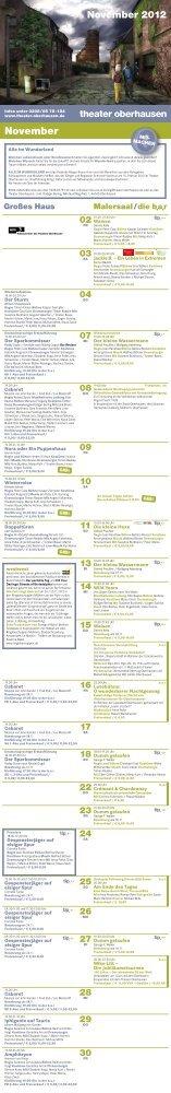 Programm November - beim Theater Oberhausen