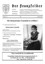 Die Heimatstube Franzfeld ist eröffnet - Die Franzfelder