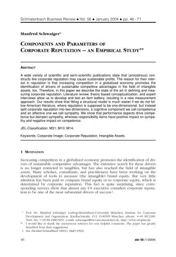 components and parameters of corporate reputation - sbr ...