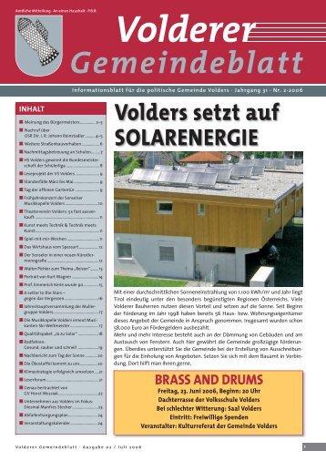 Gemeindeblatt / Ausgabe 2/2006 - Gemeinde Volders - Land Tirol
