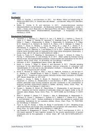 Publication list of the chemistry department.