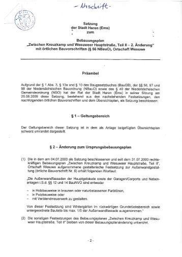 Bebauungsplan 2. Änderung - Stadt Haren