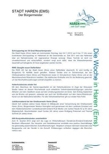 Nr. 36-2012 RWE übergibt neuen Defibrillator - Stadt Haren