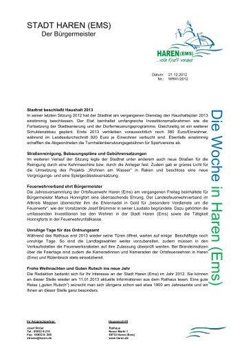Nr. 41-2012 Stadtrat beschließt Haushalt 2013 - Stadt Haren