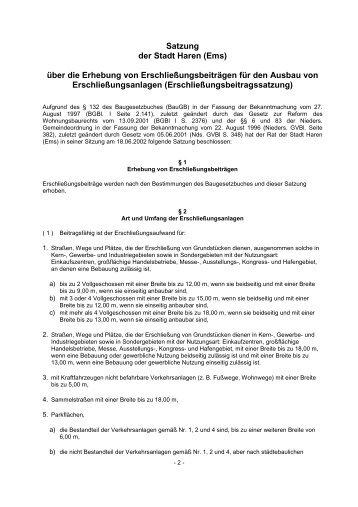 Satzung über die Erhebung von ... - Stadt Haren