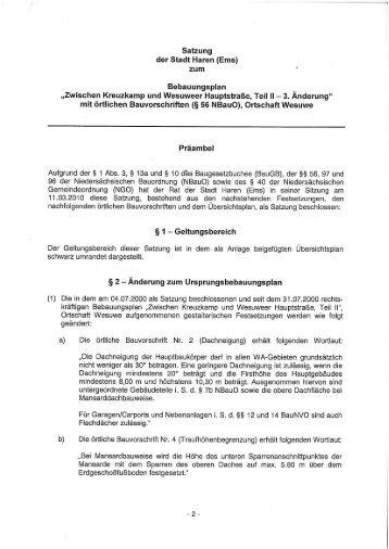 Bebauungsplan 3. Änderung - Stadt Haren