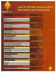 Nominee or Artist - SATMA AWARDS