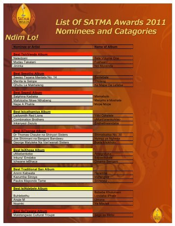 Nominee or Artist - SATMA AWARDS
