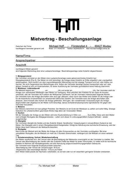 Mietvertrag Beschallung Tontechnik Michael Hoff