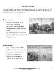 Parent's Guide to Text Level Indicators - Sachem