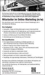 Mitarbeiter im Online-Marketing (m/w) - auf Hartje