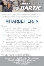 MITARBEITER/IN MITARBEITER/IN - auf Hartje