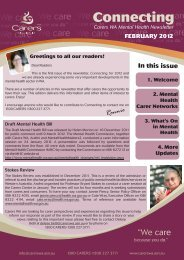 MH Newsletter Issue 1 Feb 2012 - Carers WA
