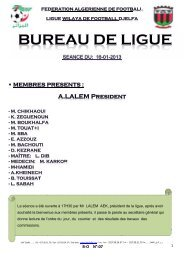 B-O N°:07 - Ligue de wilaya de football