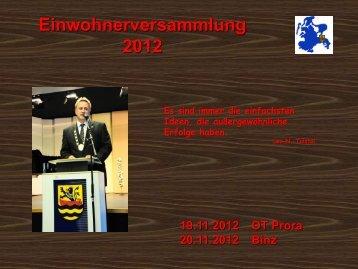 Einwohnerversammlungen Prora und Binz - November 2012