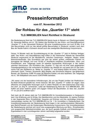 Richtfest in Stralsund - TLG Immobilien GmbH
