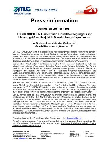 Grundsteinlegung Q17 - TLG Immobilien GmbH