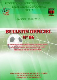 erien yadef djelfa saison : 2012/2013 - Ligue de wilaya de football