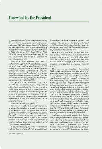 Annual Report Magyar Nemzeti Bank 1999. - EPA